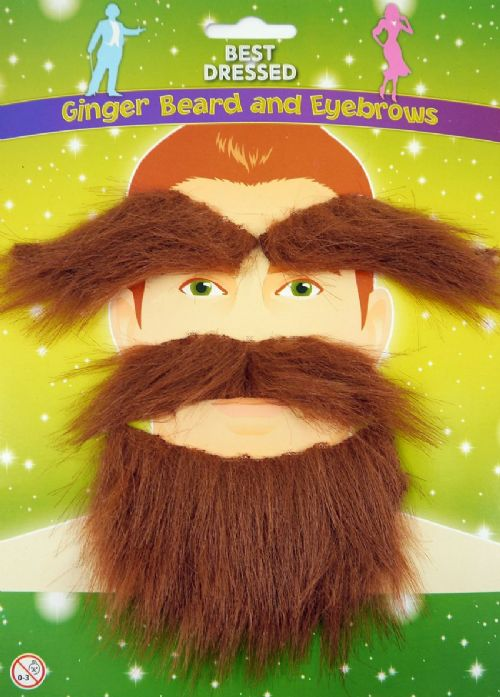 Mens Ginger Beard & Eyebrows Set for Pirate Scot Jock Highland Fancy Dress